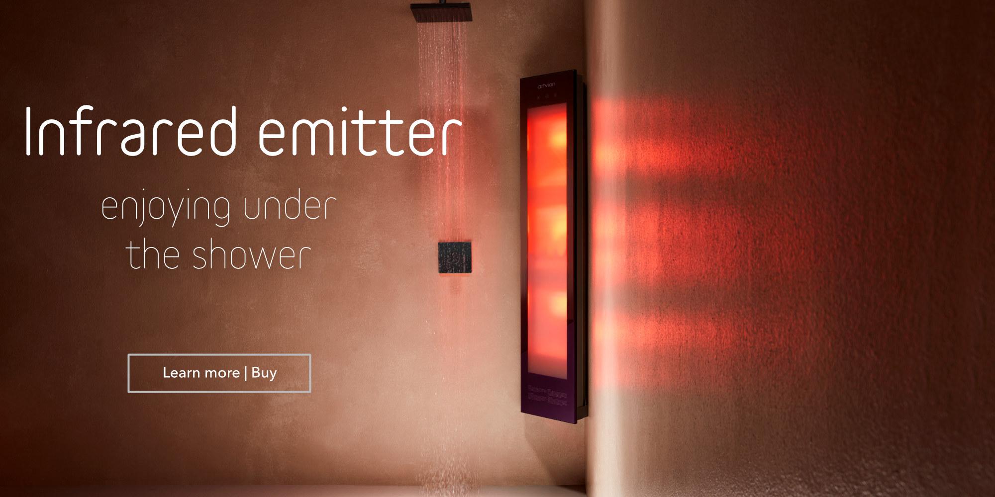 Infrared emitter for shower
