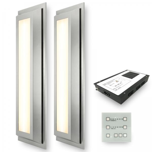 Infrarotstrahler-Set 2.GKW-AP-DT3 Aufputz Glaskeramik WEISS für Sauna