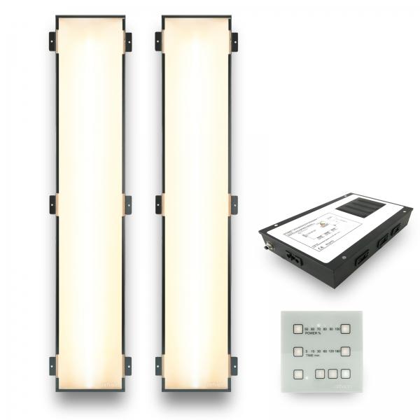 Infrarotstrahler-Set 2.GKW-DT3 Glaskeramik WEISS für Sauna